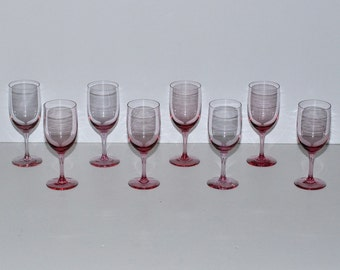 Mid Century Fostoria Silhouette Pink Water Goblets, Set of 8, circa 1960s – 1970s