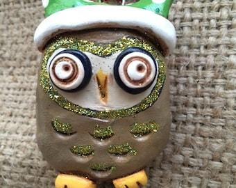 Brown gold and green polka dot hat shimmer Owl Folk Art Ornament