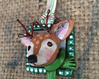 Small deer folk art Christmas ornament Ready to ship in grey and green