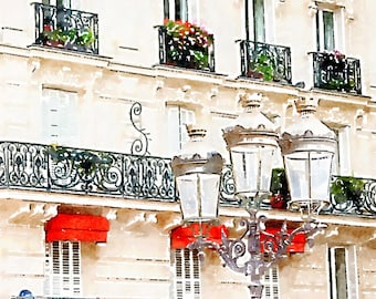 Printable Photo Art, French Decor Lamp and Balconies, Instant Download, Paris Architecture Watercolor Painting