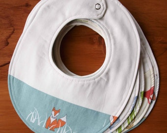 Drool Bib for Babies; Organic Cotton Baby Bib; Modern Fox Bib, Camping Bib; Baby Boy, Girl Bib, Gift New Mom & Dad; Baby Shower Present