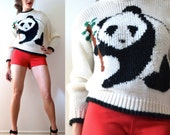 Vintage 80s 90s Panda Hand Knit Graphic Sweater (size small, medium)
