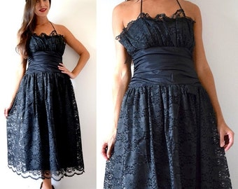 SUMMER SALE / 20% off Vintage 70s 80s Black Lace Halter Back Party Dress (size xs, small)