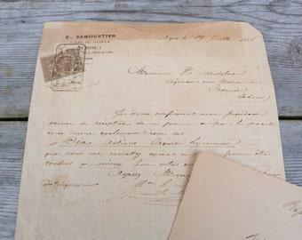 Antique 1882 & 1892 old French notarial /old papers handwriten letter/set of 2