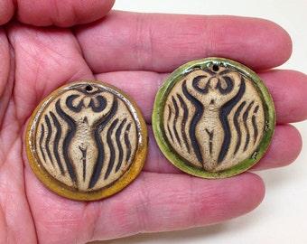 Goddess, Clay Pendant, Jewelry Supplies,Goddess Charm, Jewelry Making, Focal Piece, Mosaic Supply