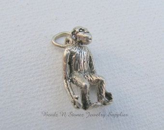 Vintage Sterling Silver Monkey Jewelry Charm, Vintage Charm