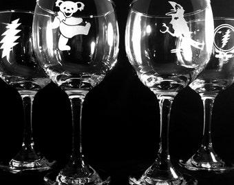 Grateful Dead  Wine Glass Set of 4 Glasses Sand Etched Engraved Gift