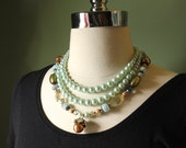 Multi strands necklace, vintage pearls, bridal jewelry, pendant, beaded necklace, french jewelry, FREE SHIPPING