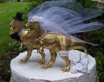 Dinosaur Cake Topper-Animal Wedding Cake Topper-T-Rex Cake Topper-Prehistoric-Animal Cake TopperWedding Topper