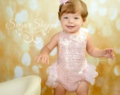 Pink and Gold, Sequin Bubble Romper, Shimmery One Piece, Photo Shoot, Pink and Gold First Birthday Outfit, Ready to Ship, Ruffle, Smash