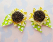 Custom Listing for Christine - Sunflower Rolled Fabric Flower Rosettes with Sewn Leaves