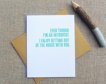 Letterpress Greeting Card - Love Card - Thinking Out Loud - Introvert Love - TOL-070