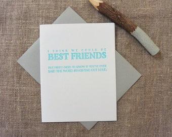 Letterpress Greeting Card - Friendship Card - Dealbreaker - Hashtag - DBK-057
