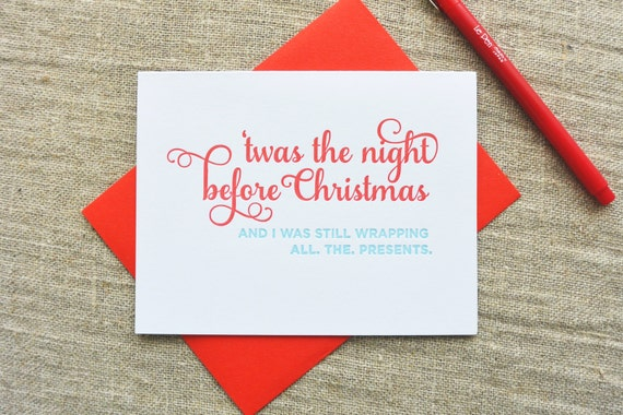 Letterpress Holiday Card - Up All Night - NQH-166