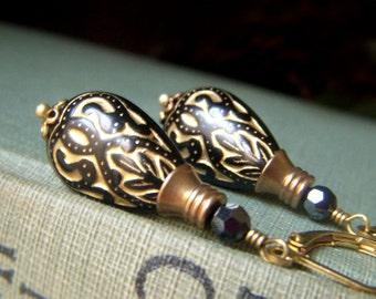 Black Teardrop Earrings Brass, Black and Gold Lucite Teardrop Dangle Boho Bohemian,  Florentine Style, Lightweight Dangle Earrings