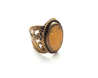 ANTIQUE BRASS Ring - Art Nouveau Flower Ring Band ~ Adjustable Statement Ring (RL-2)