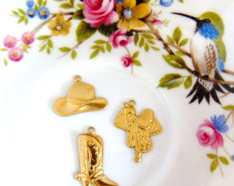 BRASS 12 Pc Theme Western Charms / Boots, Cowboy Hat, Saddle Stamping (H)