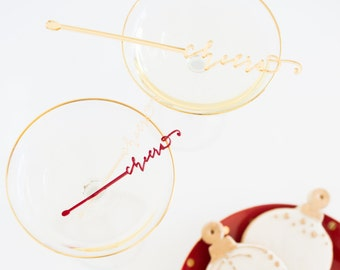 Cheers Gold Acrylic Laser Cut Drink Stirrer Set of 6
