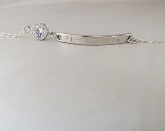 CZ Bar Bracelet Personalized Inspirational Bracelet Jewelry Will you Be my Bridesmaids Gifts Dainty Bracelet