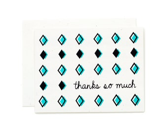Retro Thank You Card / Thanks So Much / Screen Printed Card / Hand Pulled Print / Hand Lettering / Pink Thank You / Teal Thank You