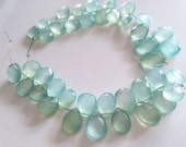 Large Aqua colored chalcedony briolettes pears