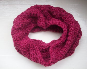 Knitted neck warmer, cosy cowl, warm collar, burgundy wine red, soft textured snood scarf