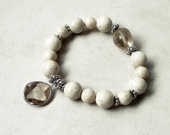 Riverstone Bracelet Sterling SilverBoho Chic Rutilated Quartz Stretch Beaded Bracelet