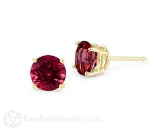 14K Rhodolite Garnet Earrings 6mm Gold Studs Gemstone Stud Earrings 14K White or Yellow Gold January Birthstone Earrings