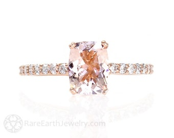 Cushion Morganite Engagement Ring Diamond Rose Gold Morganite Ring 14K or 18K Gold Wedding Ring Pink Gemstone Ring