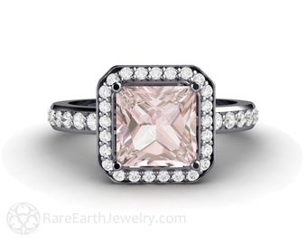 Princess Morganite Engagement Ring Platinum Morganite Ring Diamond Halo Custom Fine Jewelry Gemstone Ring