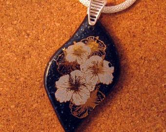 Fused Glass Pendant - Flower Pendant - Fused Glass Jewelry - Teardrop Pendant - Glass Pendant - Decal Pendant