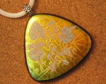 Dichroic Pendant - Fused Glass Pendant - Dichroic Jewelry - Fused Glass Jewelry - Decal Pendant - Dichroic Flower Pendant