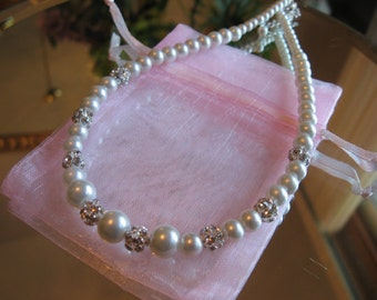 Custom Flower Girl Swarovski Rhinestone and Pearl Necklace - Childrens Childs Pearl Neacklace/Girl's Pearl Necklace/Wedding Jewelry