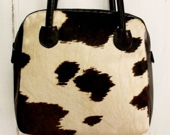 Vintage cowhide Fur leather handbag