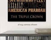 Triple Crown derby Horse Racing Winners typography graphic artwork on gallery wrapped canvas design by stephen fowler