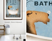 Airedale Terrier dog bath soap Company vintage style artwork by Stephen Fowler Giclee Signed Print