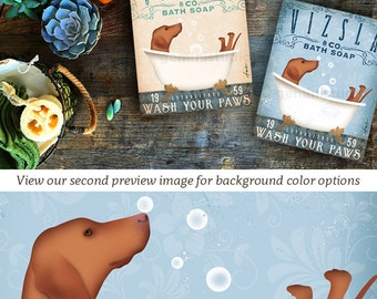 Vizsla dog bath soap Company artwork on gallery wrapped canvas by Stephen Fowler