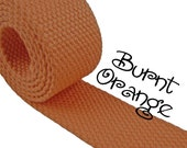 "Cotton Webbing - Burnt Orange - 1.25"" Medium Heavy Weight for Key Fobs, Purse Straps, Belting - SEE COUPON"