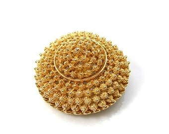 Coro Dome Brooch, Golden Faux Cannetille, Tiered Design in Goldtone Metal, Vintage c1960s Costume Jewelry