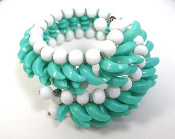 Aqua White Wrap Bracelet, Coil Cuff, Vintage c1950s, Plastic Beads, Shark's Tooth Beads, Coiled Metal, Mid-century Costume Jewelry