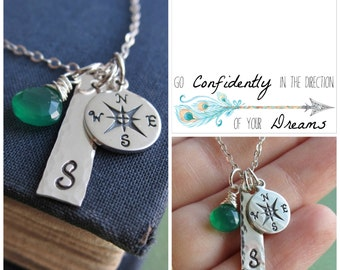 Compass necklace Graduation gift for her Message Card Personalized silver initial necklace Go Confidently in the Direction of your Dreams