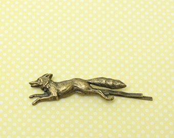 Fox hair pin bobby pin woodland brass hair slide retro hair accessory
