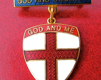 Vintage Boy Scouts God and Country Award Pin
