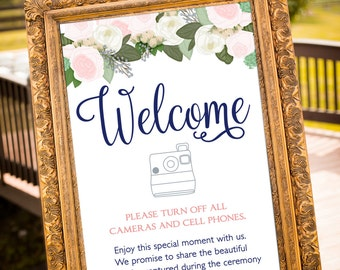 PRINTABLE - Unplugged Wedding Sign, Unplugged ceremony Sign, Social media sign, Blush And Navy, Garden Wedding, Welcome Sign, Pastel Wedding