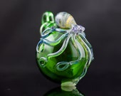 Octopus Hand Blown Ornament in Lake Green & Artist Swirl, Ready to Ship #553