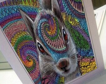 greeting card print of original art-  squirrel  Zentangle