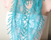 Turquoise Scarf Lace Scarf Tulle Scarf Fringe Scarf Summar Scarf Woman Fashion