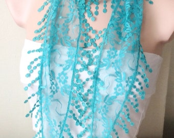 Turquoise Scarf Lace Scarf Tulle Scarf Fringe Scarf Summar Scarf Woman Fashion