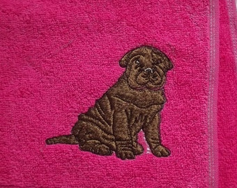 Sharpei Dog Embroidered Hand Towel