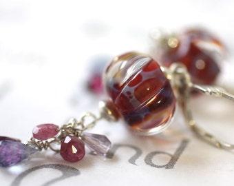 Berry Medley Gemstone Drop Earrings, Mixed Gemstone and Lamp Work Long Earrings,  Long Dangle Silver Statement Earrings